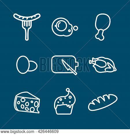 Food Line Icon Set. Pizza, Hamburger, Fried Egg, Toast, Ice-cream, Sushi. Food Line Icon Set. Pizza,