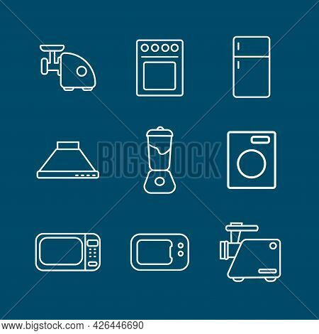 Kitchen Electrical Equipment Line Icon Set With Tea Kettle, Blender, Fridge, Gas Stove, Microwave. K