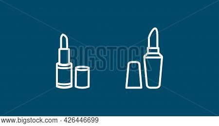 Lipstick Line Icon Set. Woman Lipstick Icon. Lipstick Line Icon Set. Woman Lipstick Icon.