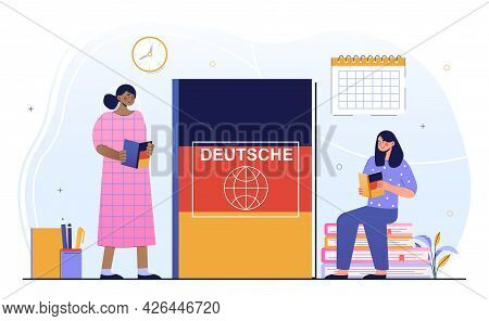 Two Young Female Characters Are Learning German Language Together. Women Are Studying German With La