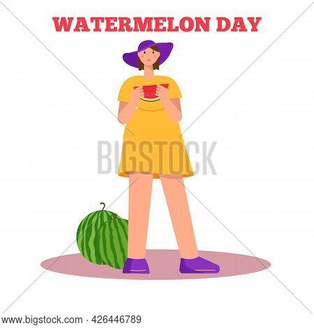 Watermelon Day. Girl Eating Watermelon. Flat Vector Illustration.