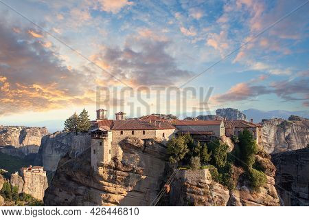 Meteora, Greece. Famous Place In Greece With Beauliful Sky