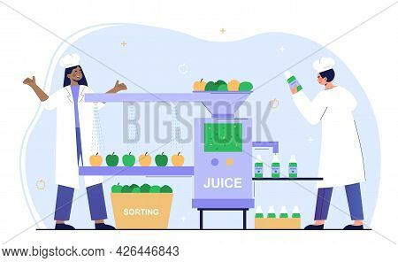 Male And Female Characters Are Working On Juice Production Factory. Man And Woman Sorting, Washing F