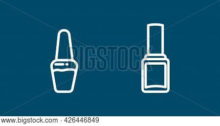 Nail Polish Line Icon Set. Nail Polish Cosmetics Line Icon. Nail Polish Line Icon Set. Nail Polish C