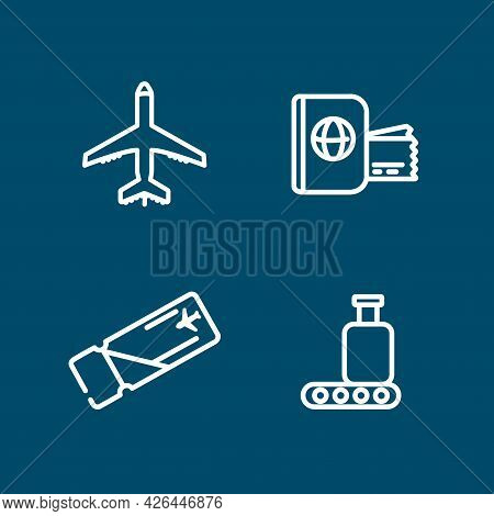 Plane, Boarding Pass, Flying Ticket, Line Icon Set. Plane, Boarding Pass, Flying Ticket, Line Icon S
