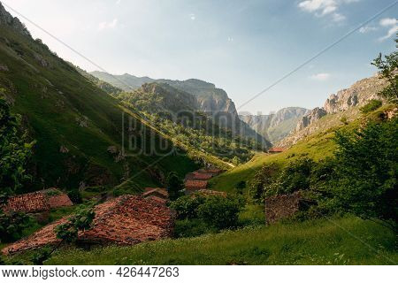 Landscape With Old Buildings For Ranchers In The High Mountains. Picos De Europa National Park.