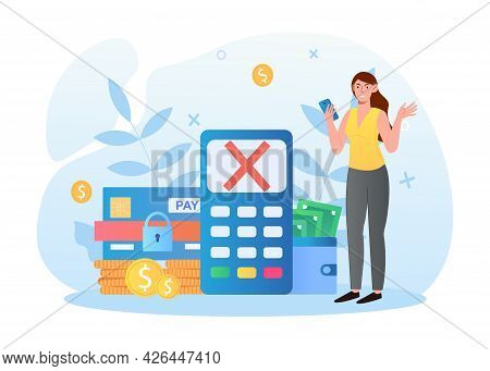 Angry Female Character Is Getting Credit Card Blocked. Woman Cant Pay With Credit Card. Angry Girl I