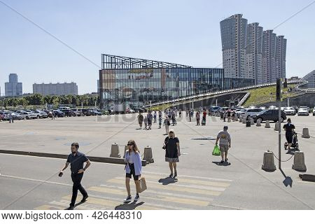 Moscow, Russia - 10 July 2021, The Entrance To The New Subway Cska. People Go To The Popular Busines