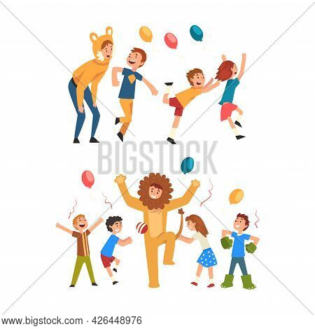 Holiday Party Actor Or Entertainer Wearing Costume Of Cat And Lion Playing With Kids Vector Set