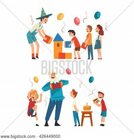 Holiday Party Actor Or Entertainer Wearing Costume Of Magician And Jester Playing With Kids Vector S