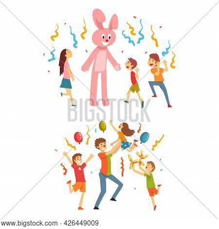 Holiday Party Actor Or Entertainer Wearing Costume Of Bunny And Clown Playing With Kids Vector Set