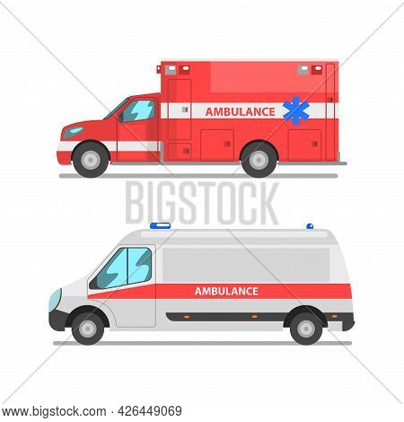 Ambulance As Medically Equipped Vehicle For Transporting Patient To Hospital Vector Set