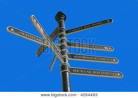 London Tourist Signpost Against Blue Sky