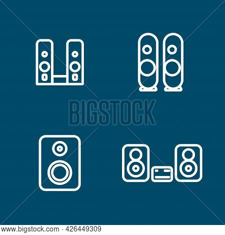 Speakers. Stereo Speakers With Subwoofer Line Icon Set. Speakers. Stereo Speakers With Subwoofer Lin