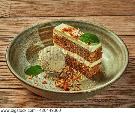 Carrot Cake With Ice Cream And Caramelized Nut Crumbs