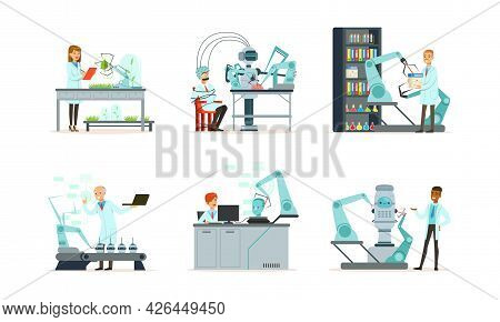 People Scientist Character In Innovation Laboratory Conducting Experiment With Robot Assistance Vect