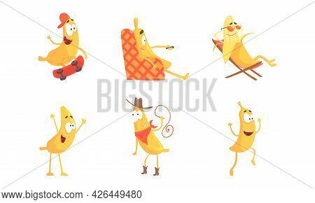 Cute Humanized Banana Character Skateboarding And Sunbathing On Sun Lounger Vector Set