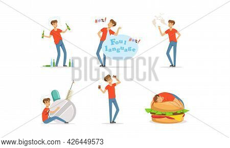 Bad Habit With Man Addicted To Alcohol, Smoking And Gluttony Vector Set