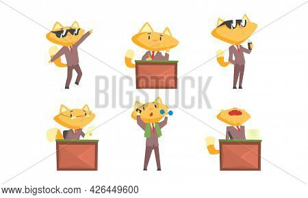 Cat Businessman Character In Formal Suit And Tie Speaking By Phone And Drinking Coke Vector Set