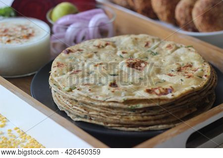 A High Protein Indian Flat Bread With Whole Wheat And Lentils. Popularly Known As Moong Dal Paratha
