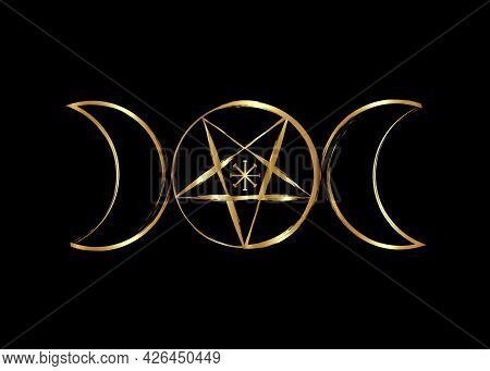 Triple Moon Goddess Wicca Pentacle Symbol, Golden Pagan Witchcraft Icon In Gold Brush Stroke Style.