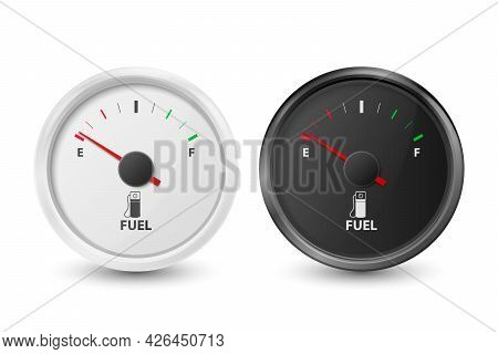 Vector 3d Realistic Black And White Circle Gas Fuel Tank Gauge, Oil Level Bar Icon Set Isolated On W