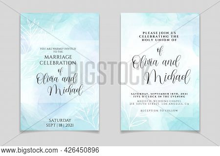 Wedding Invitation Template On Pastel Cyan Liquid Marble Watercolor Background With White Branches A