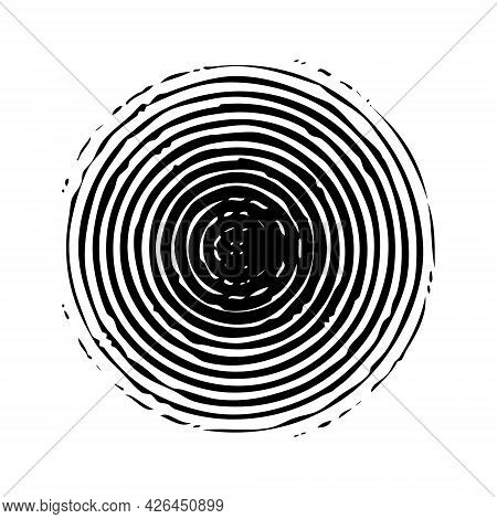 Concentric Circle Grunge Round Shape, Black On White. Element For Graphic Web Design, Template For P