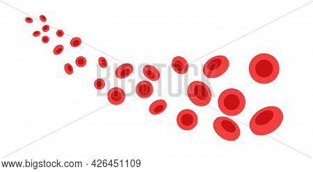 Human Blood Cells Structure Under Microscope. Erythrocytes Icons In Vein. Human Blood Vessel Concept