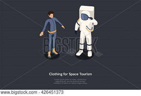 Isometric Illustration. Vector Cartoon Style Composition, 3d Design. Characters, Writing And Element