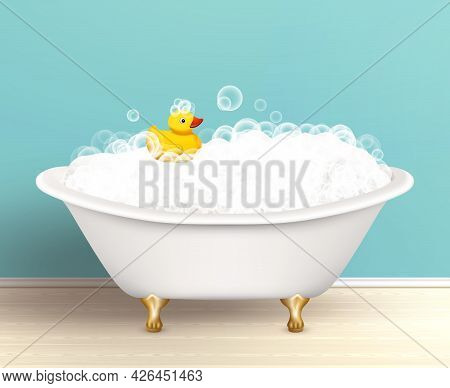 Bathtub Cast A Shadow On Bathroom Poster With Foam And Yellow Rubber Duck Colored Vector Illustratio