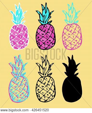 Vector Pink Pineapple With Turquoise Foliage. Hand-drawn Doodle-style Set Of Isolated Pineapples Iso