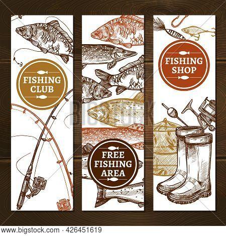 Fishing Sketch Concept. Fishing Vertical Banners. Fishing Vector Illustration. Fishing Hand Drawn Se