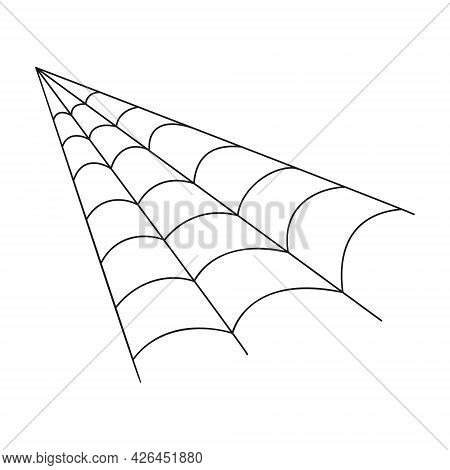 Cobweb In Outline Style. Spider Web Corner Icon Isolated On White Background. Design Element For Hal