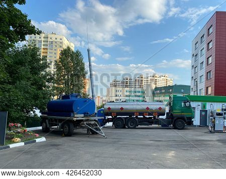 Large Industrial Truck With A Tank, A Fuel Tanker At A Gas Station For The Transportation Of Fuel Oi