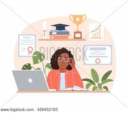 Successful Smiling Black Woman Portrait With Laptop Diploma Trophy, Graduation Cap. Flat Happy Young