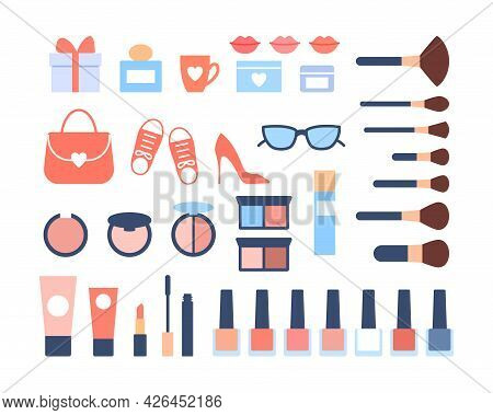Flat Woman Accessories Icons Set On White Background. Beautiful Color Fashion Objects Cosmetics Lips