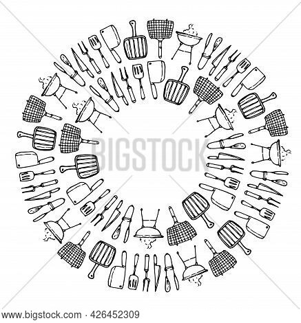 A Vector Set Of Circular Templates From Grilling Tools With An Empty Space Inside For Text. Isolated