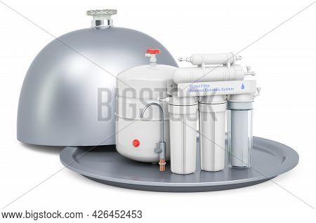Restaurant Cloche With Reverse Osmosis System, 3d Rendering Isolated On White Background