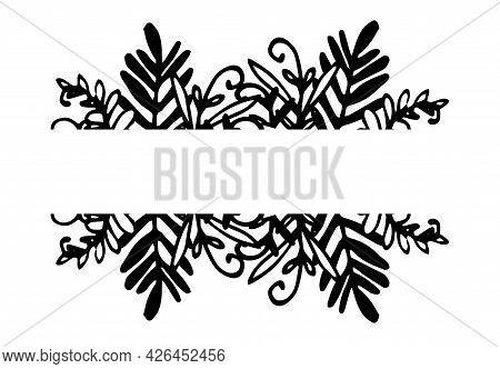 Vector Set Of Horizontal Pattern Of Branches With Plant Leaves. A Hand-drawn Set Of Isolated Horizon