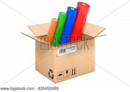 Multicolor Pvc Polythene Plastic Tape Rolls Inside Cardboard Box, Delivery Concept. 3d Rendering Iso