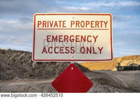 Selective Focus Of A Private Property Signage On A Land