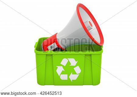 Recycling Trashcan With Megaphone, 3d Rendering Isolated On White Background