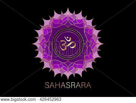 Seventh Chakra Sahasrara Logo Template. Crown Chakra Symbol, Purple Golden Sacral Sign Meditation, Y