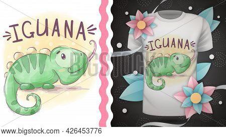 Childish Cartoon Character Animal Iguana. Hand Draw