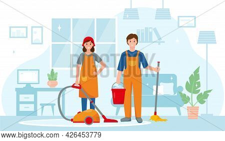 Cleaning Service Workers Characters In House. Man With Mop And Bucket Of Water And Woman With Vacuum