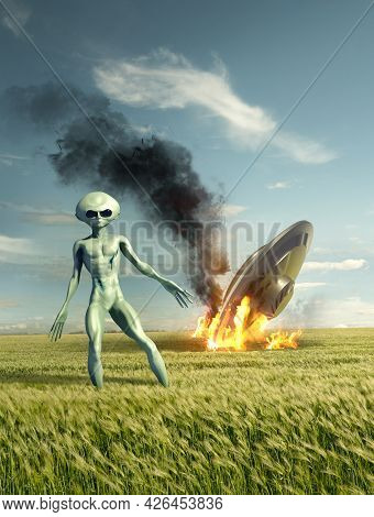 Classic Flying Saucer Ufo Crash Site With A Green Alien. Classified Extraterrestrial Life On Earth.