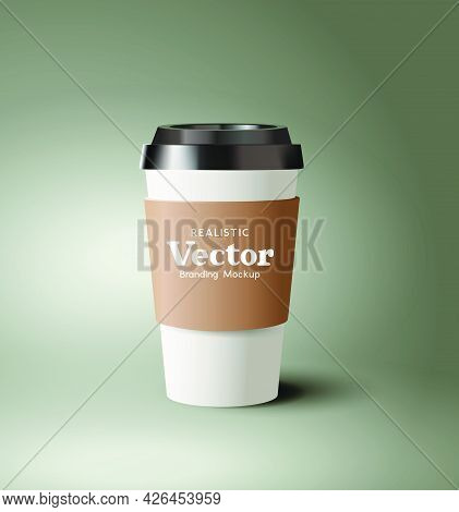 A Realistic Takeaway Cardboard Coffee Cup With Plastic Lid. Contemporary Beverage Hot Drinks Marketi