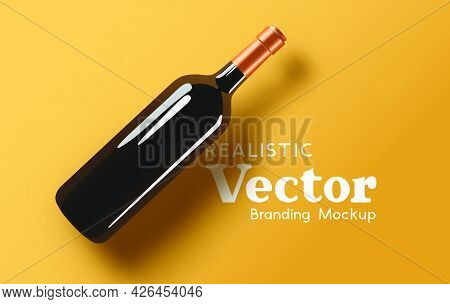 A Realistic Glass Bottle Of Wine - Branding Mock Up. Contemporary Marketing Beverage Template Vector