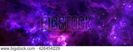 A Colorful Fantasy Space Nebula With Gas Clouds And A Cluster Of Stars For The Background